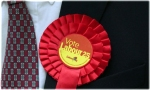Man with a Labour rosette